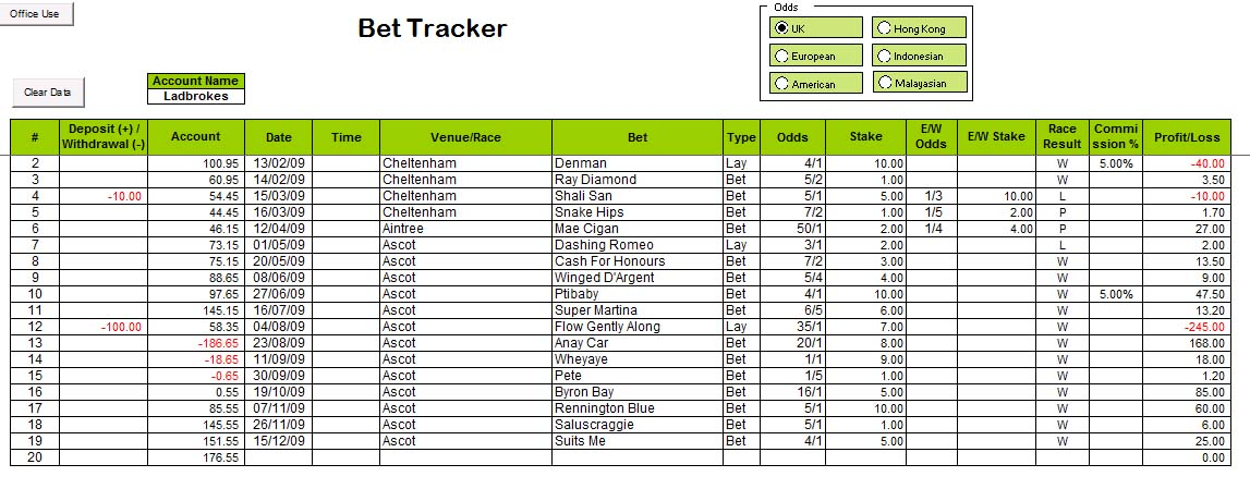 Excel gambling spreadsheet
