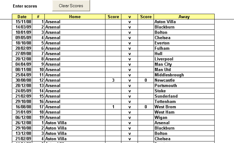 Football / Soccer League Automated Place Positioning Excel